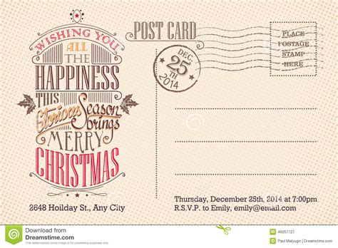 postcard invitations templates vintage merry postcard
