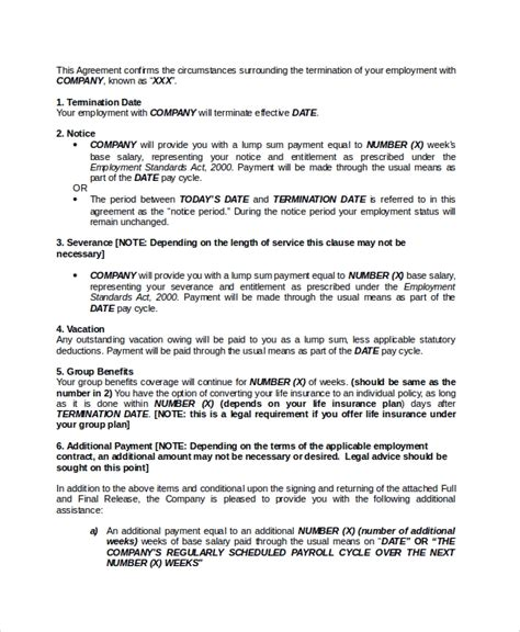 sample employment termination agreement   documents    word