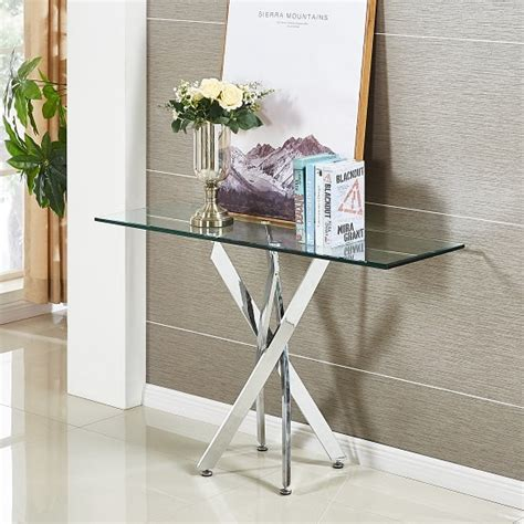 all glass console table daytona glass console table rectangular in clear with