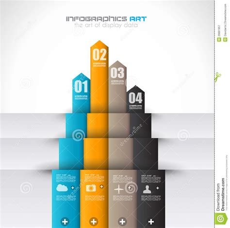 visual communication design ranking infographic design template with paper tags royalty free
