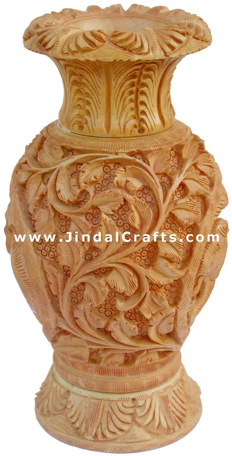 Decorative Wooden Vases by Carved Wooden Decorative Vase India Fair Trade