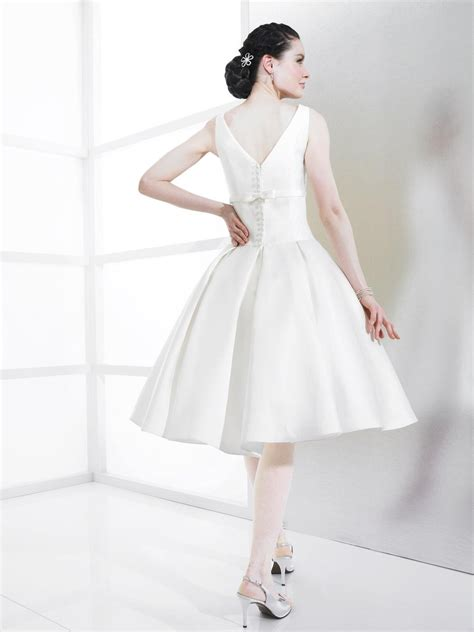 short ball gown mikado wedding dress with v backCherry Marry   Cherry Marry