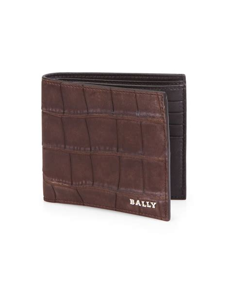 Bally Mans Wallet Bottom List lyst bally lollen alligator wallet in brown for