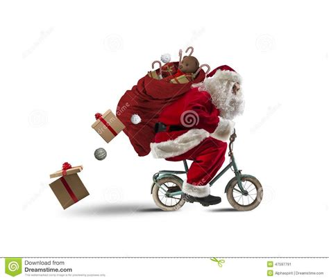 santaclaus on the bicycle stock photo image 47597791