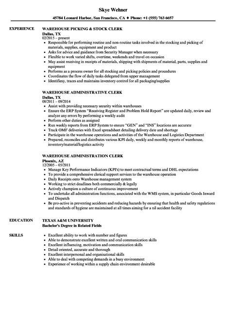 Warehouse Clerk Resume by Warehouse Clerk Resume Sle Sarahepps