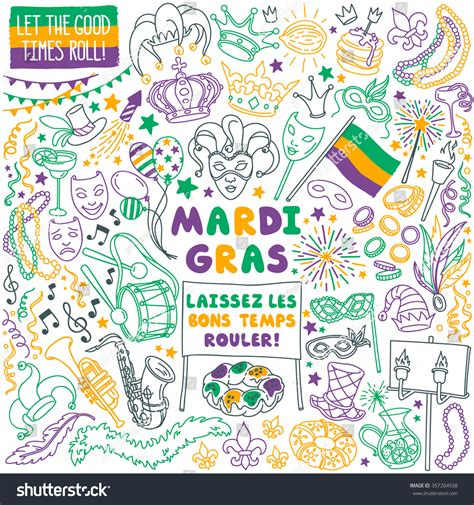 Mardi Gras Traditional Symbols Collection Carnival Stock ... Laissez Les Bons Temps Rouler
