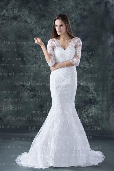 weisses brautkleid 2017 new lace wedding dresses sheath column half sleeve v
