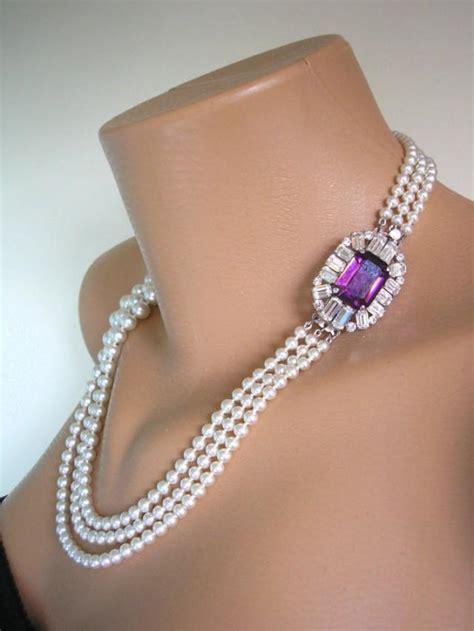 Baju Anjing Dress Collar Pearl Purple amethyst necklace pearl necklace purple bridal choker great gatsby deco rhinestone