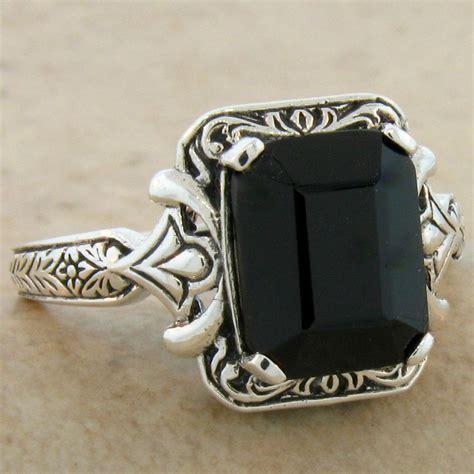 genuine black onyx antique design 925 sterling silver ring