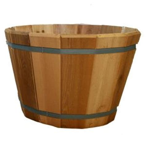 Home Depot Barrel Planter by 24 In Dia Cedar Barrel Planter G3000 The Home Depot