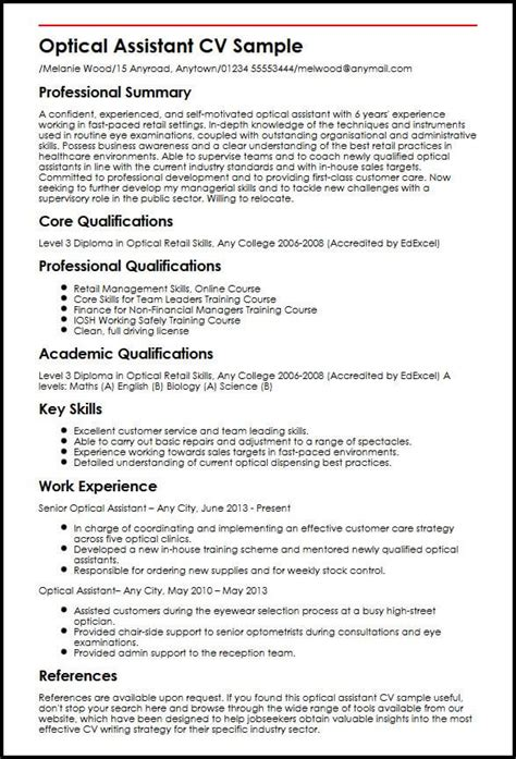 cover letter for optical assistant optical assistant cv sle myperfectcv
