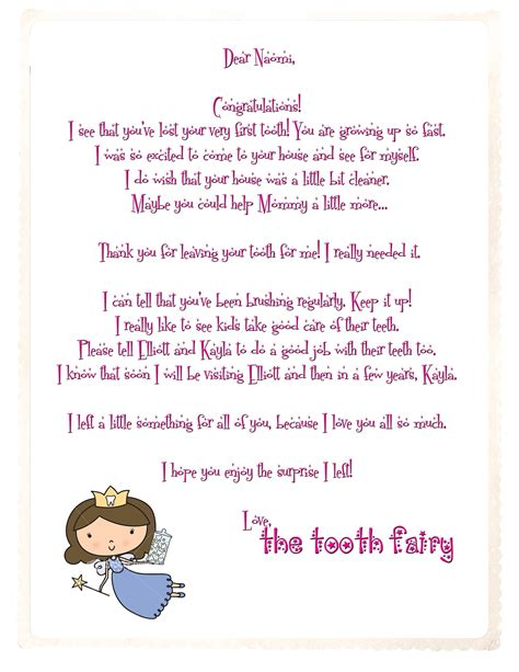 tooth fairy letter template word lomer
