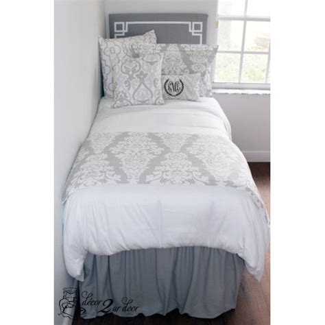 solid grey room extended length 32 drop bed skirt