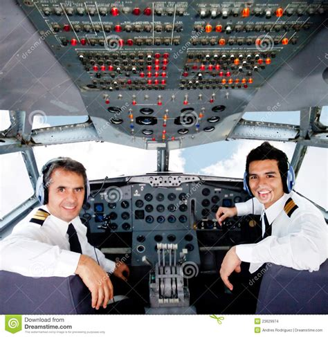 Flying With In Cabin by Pilots In An Airplane Cabin Stock Images Image 23629974