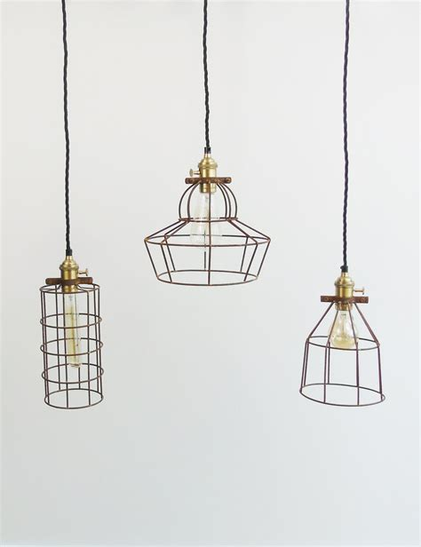 wire cage pendant light simple industrial wire cage pendant ceiling light the
