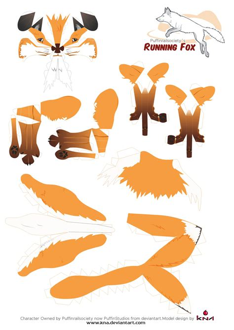 Papercraft Fox - brown fox papercraft pattern by kna on deviantart
