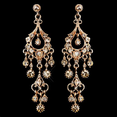 Vintage Bridal Chandelier Earrings A Touch Of Class Creations Quot Promise Quot Antique Rose Gold