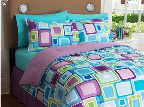 reversible purple green aqua teen full comforter set