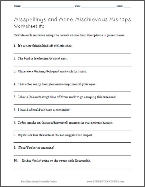 francois 5th grade mishaps books misspellings and more mischievous mishaps ela worksheet 3