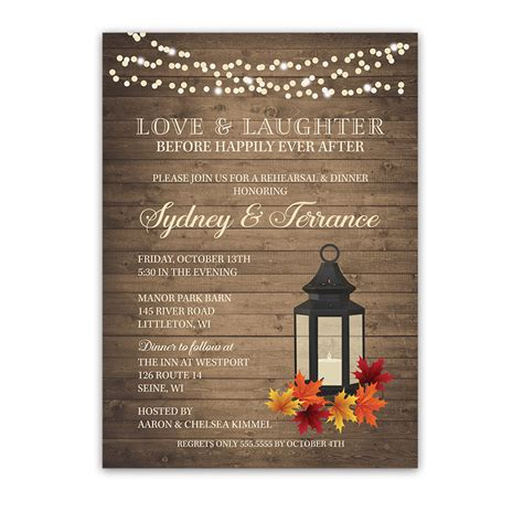 wedding dinner invitations happily after fall wedding rehearsal dinner invite