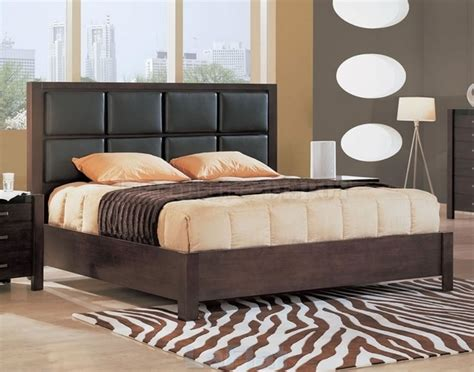 bed backrests upholstered with leather interior design