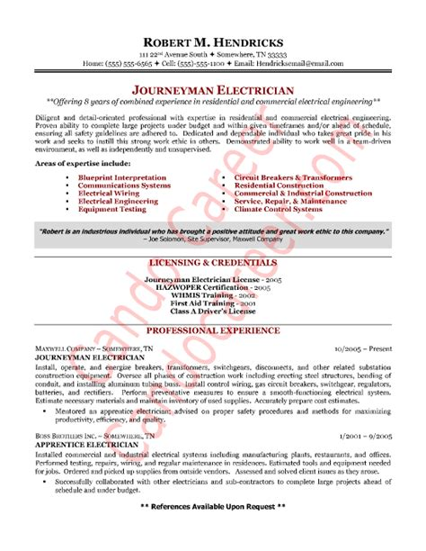 electrician resume sle