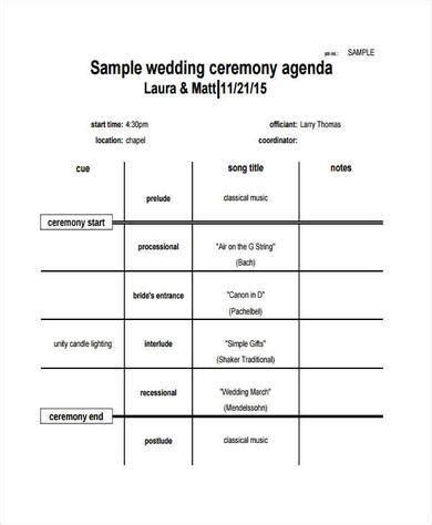 Wedding Ceremony Agenda by 9 Wedding Agenda Sles And Templates Pdf Word