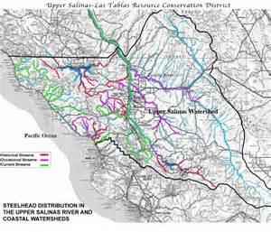 salinas river california map steelhead map of the salinas river