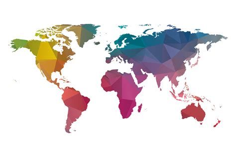 colorful world map low poly world map colorful illustrations creative market