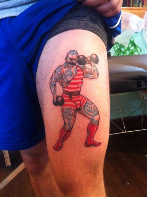 tattoo atlanta traditional strongman by tad coleman at liberty in