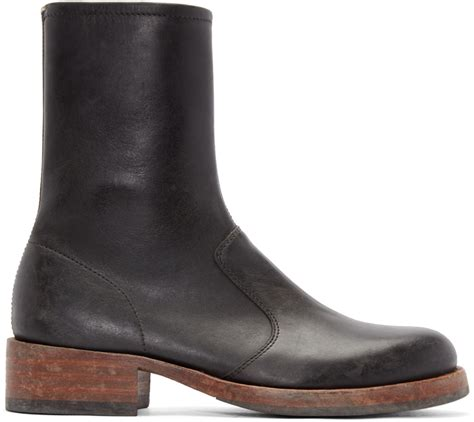 margiela boots mens maison margiela black leather replica boots in black for