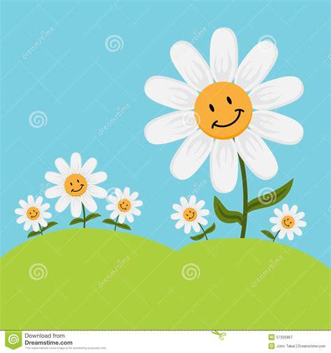 happy cartoon daisy flowers stock vector illustration