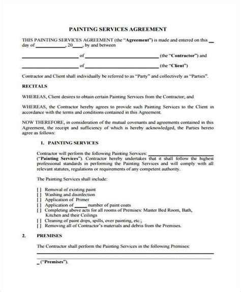 painting contract template 7 service contract agreement form sles free sle