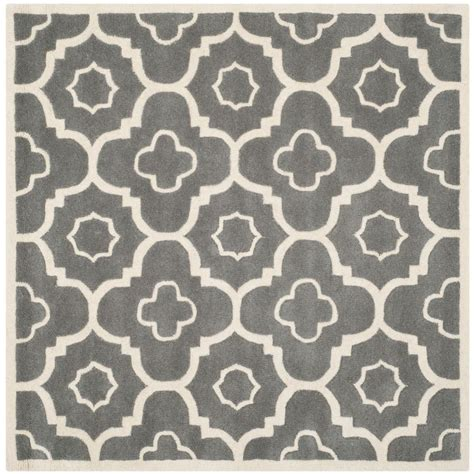 safavieh chatham grey ivory 3 ft x 3 ft square area