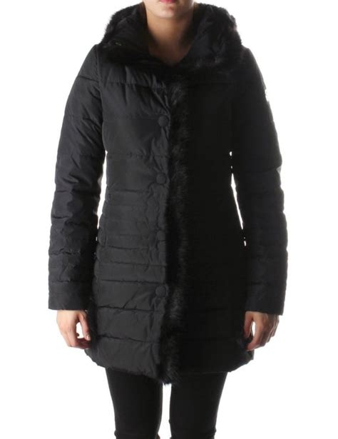 Womens Black Quilted Coat by Armani Fur Trim Quilted S Jacket Black