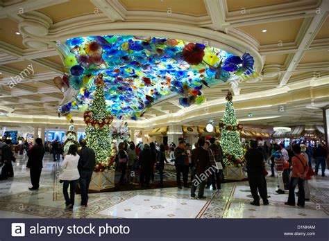 foyer of the bellagio hotel and casino with christmas