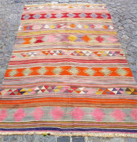 Pink Kilim Rug by Organic Dyed Kilim Rug Decorative Pink Grey Orange By