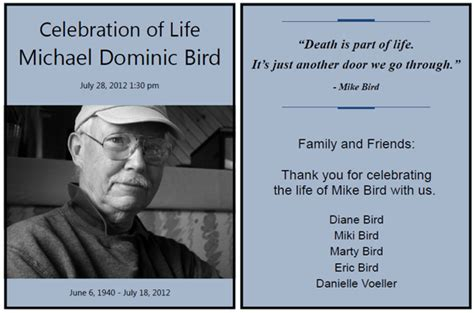 funeral handouts template funeral handouts template luxury and kingfisher celebration handouts