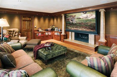 projector screen  fireplace traditional family