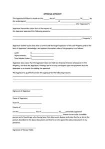 template for an affidavit appealing appraisal affidavit form template sle