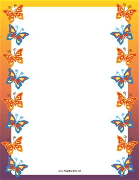 orange and blue butterfly border