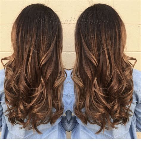 brown sombre medium hair style wavy layers layer hair and balayage on pinterest