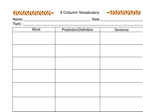 3 column word template image gallery 3 column chart