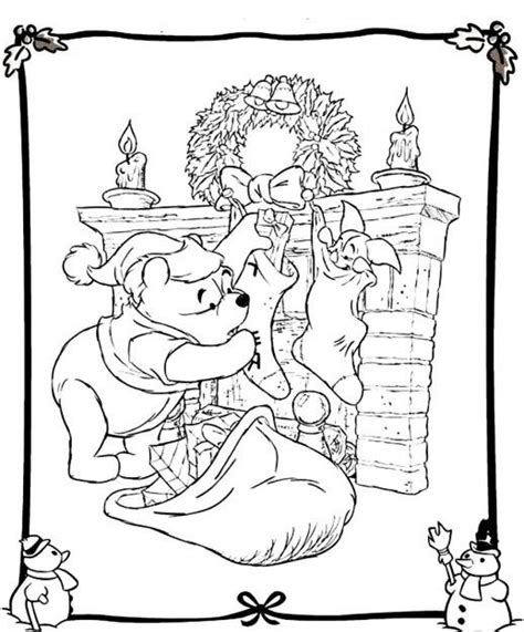 winnie the pooh hanging the christmas gift disney coloring