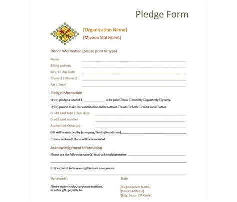 donation pledge form donation pledge form template