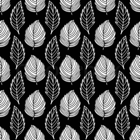 Black And White Themed Pattern | vintage style seamless background pattern with leafs