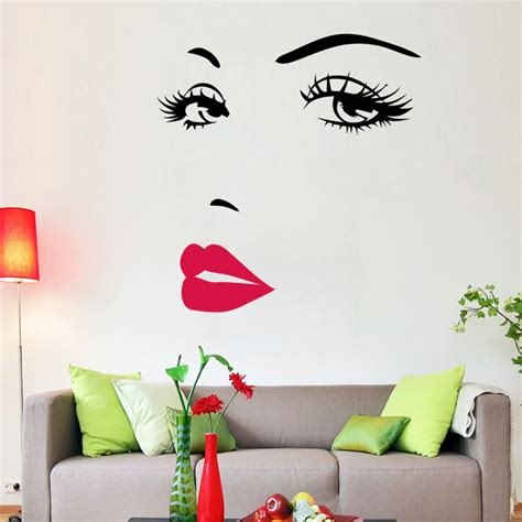 wall stickers decoration for home portrait sexy beauty girl lip eye 3d wall sticker