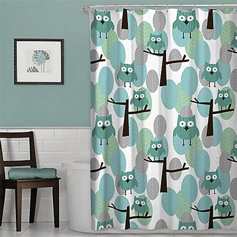 owl shower curtain bed bath and beyond owl shower curtain in blue bed bath beyond