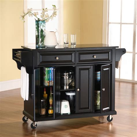 granite top kitchen island cart crosley furniture solid black granite top kitchen cart or