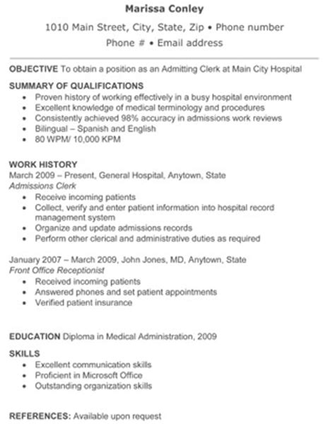 Sle Resume Hospital Admissions Clerk Hospital Admitting Clerk Resume Foto 2017